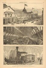Chicago, IL, Railroad Exposition Building, w/text Vintage 1883 Antique Art Print