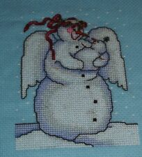 Finished cross stitch piece-Snow angel holding baby