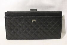 "ETIENNE AIGNER Navy Blue Leather ""Quilted"" Long Wallet B27"