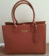JOY & IMAN Genuine Leather Hollywood Glamour Handbag-Rich Cognac-NEW