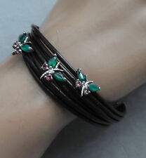 BRAZILIAN  BRACELET W, DRAGON FLYS ON THE MULTI STRANDS, CRYSTOPHASE & TOPAZ S