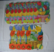 NOS Lot of 12 Eureka die cut Easter basket eggs spring chicks double sided New