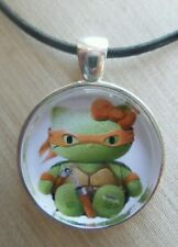 *Hello Kitty MUTANT NINJA TURTLE* Glass Pendant with Leather Necklace