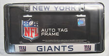 NFL NIB CHROME LICENSE PLATE FRAME- NEW YORK GIANTS - ALL BLUE THIN LETTERS
