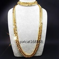 SALE!18K gold filled Bracelet necklace set Curb chain HUGE Cool men's USA