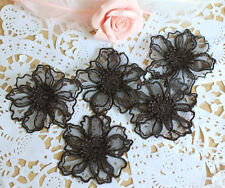 Bridal Organza Applique Floral Wedding Motif Black Lace Applique Trim 4 Pieces