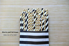 50 Black and Gold Foil Party Straw Mix The Great Gatsby Party Decorations/Bridal