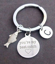You Are My Best Catch Fishing Key Chain W/Initial,Lovers,Best friend,Sister Gift