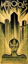VINTAGE OLD MOVIE POSTER Metropolis Film Art Deco Style Fritz Lang Gold Colour