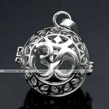 1x Silver Chime OM Symbol Cage Mexican Bola Harmony Ball Locket Pregnant Pendant