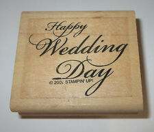 Happy Wedding Day Rubber Stamp Stampin' Up! Retired Wood Mounted Marriage