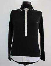 Women's FRED PERRY Polo Shirt, Size S Small, Black, Long Sleeve, Cotton #BL1348