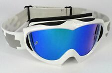 SPY OPTICS TARGA 2 ALLOY MOTOCROSS MX GOGGLES WHITE with BLUE MIRROR LENS NEW