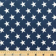 Stars Quilt Fabric Poly Cotton Fabric By The Yard Navy Blue White Star Fabric