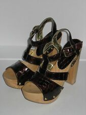 =QUIRKY= G.J.L. Maroon Croc Leather US 6 Chunky High Dress Heels Platform Shoes