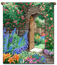 27x36 SECRET GARDEN Path Roses Floral Tapestry Wall Hanging