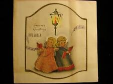 """VINTAGE """"ANGELS FOR DAUGHTER - GLASS BEADED!!"""" CHRISTMAS GREETING CARD"""