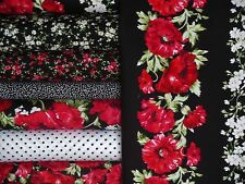 Audrey Poppies Quilt Kit-Timeless Treasures Floral Dots Vines Red Black WhiteNEW