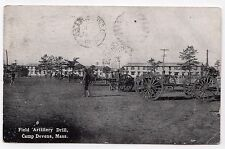 CAMP DEVENS Fort MASSACHUSETTS Military PC Postcard FIELD ARTILLERY DRILL Mass