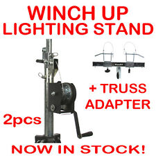 2 x Pro Winch Up Lighting Tripod Stage Studio Light Speaker Truss Adapter Stand