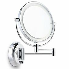 Miusco 7X Lighted Magnifying Double Side Adjustable Makeup Mirror, Wall-Mounted,