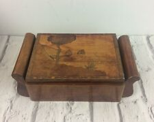 Antique Art Deco Styled Wooden Inlaid Cigarette Case With Dispenser.