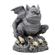 "14""H LARGE TROLL GARGOYLE ON SKULLS STATUE. INDOOR OUTDOOR HOME AND GARDEN DECOR"