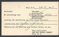 1953 POSTAL CARD TROY NY, FORD TRAVELER CO CANCELLING ADV ORDER