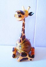 "Handmade Thai Craft Coconut Shell Money Box ""Giraffe"" - Piggy Bank"