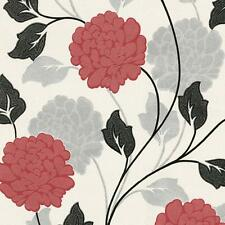 Flower Floral Textured Wallpaper Metallic Glitter Effect White Red Black Silver