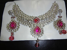 Brand new kundan/indian Pink and silver tone necklace set!!!