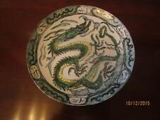 """ANTIQUE CHINESE EXPORT HAND PAINTED  BLUE GREEN YELLOW DRAGON 10 3/8"""" PLATE"""