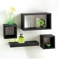 Moderne lot de 4 tablettes flottantes mur stockage vitrine cubes-noir