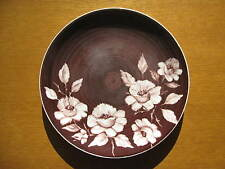 E.M. McIntyre Hand Painted Decorative Dinner Plate Mid Century Brown White Roses