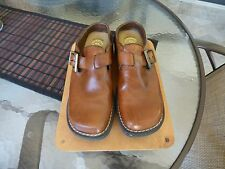 Authentic Earth Shoe Gelron 2000 Genuine Leather Slip-on Clog Mules British Tan