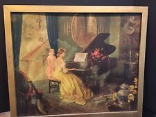 """Vintage Framed Antoni Ditlef Print """"Enchantment"""" Lady in Yellow Dress at Piano"""