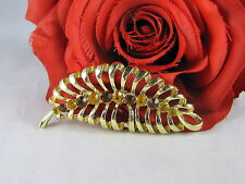 Vintage Dazzling Amber Rhinestone Gold tone Feather Pin Brooch CAT RESCUE