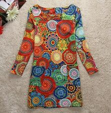 Unique FUNKY LADIES BOHO/1960's STYLE MULTICOLORED DESIGNER DRESS SIZE 18