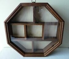 """Octagonal WOOD SHADOW BOX  Wall Curio Cabinet Glass Front 15"""" x 15"""" 7 Sections"""