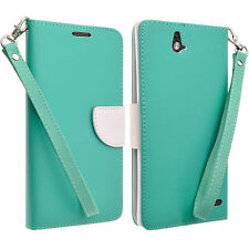 PU Leather Teal White Wallet Credit Card Case Cover For Grand X Max+ Z787 Z987