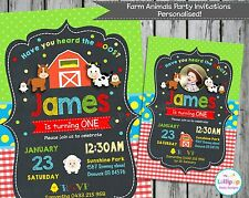 FARM ANIMALS PARTY INVITATIONS PERSONALISED CARD CHALKBOARD INVITES 1ST BIRTHDAY