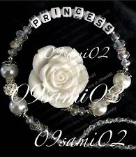 ❤Bling Rose Shamballa & Crystal Romany Dummy Clip Personalised White !!❤❤