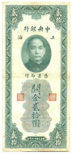 China Republic Central Bank Shanghai 20 Customs Gold Units 1930 VF #328