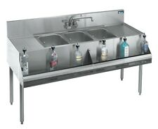 "Krowne Metal Stainless 3 Compartment Bar Sink W/ Two 12"" Drainboards 19""D - Kr18"