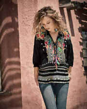 JOHNNY WAS Feather Embroidered Oversized Indie Hobo Tunic Black PXXL Petite