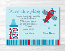 """Blue & Red Airplane Baby Shower """"Guess How Many?"""" Game Cards"""