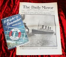 TITANIC - A NIGHT TO REMEMBER - First Printing & Original D/J & Newspaper 1912