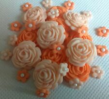 32 SHADES OF APRICOT EDIBLE ROSES AND FLOWERS Sugar cake decoration topper