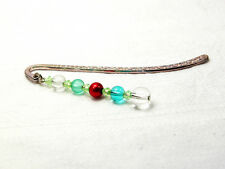 Clear, green and red beaded silver-tone metal bookmark, brand new, handmade