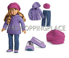 New American Girl Doll Outfit Casual Chic Sweater Hat Pants Shoe Purple Polkadot